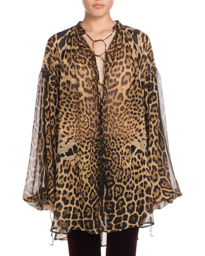 Lace-Up Long-Sleeve Leopard-Print Artist Smock Top