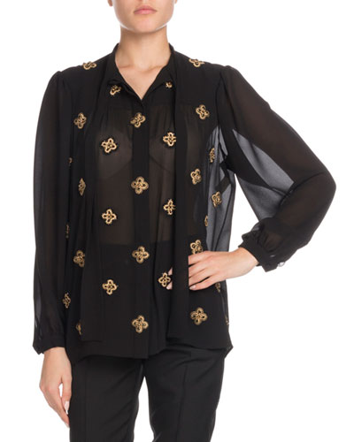 Tie-Neck Long-Sleeve Embroidered Silk Blouse