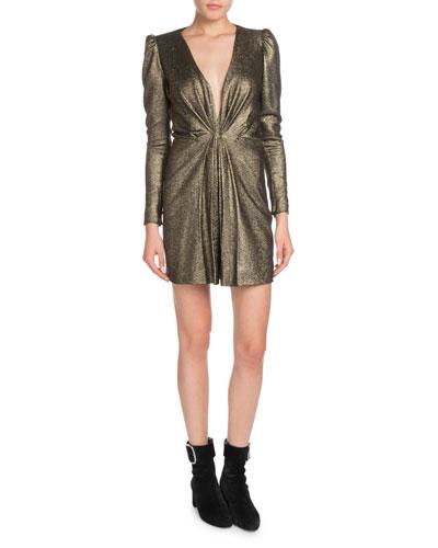 Deep-V Long-Sleeve Gathered Metallic Silk Cocktail Dress
