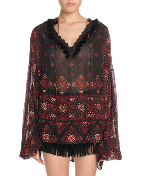 Saint Laurent V-Neck Full-Sleeve Folk-Print Artist Smock  Top