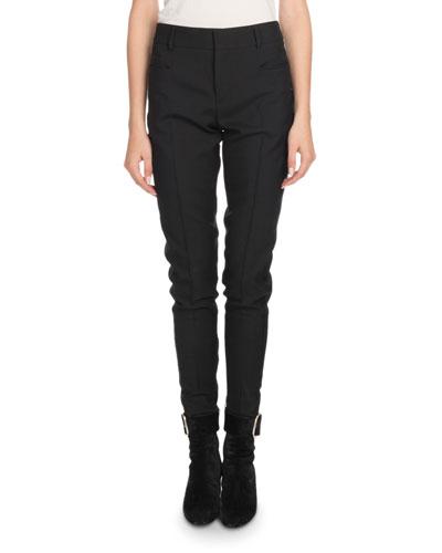 Mid-Rise Flat-Fly Slim-Leg Wool Pants w/ Tux Stripe