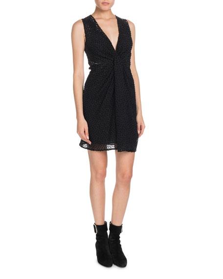 Saint Laurent V-Neck Sleeveless Drape-Front Velvet Dotted Georgette Dress