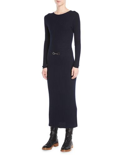 Luisa Crewneck Long-Sleeve Ribbed Wool Maxi Dress