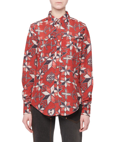 518b3ab6ad497c Red Long Sleeves Blouse | Neiman Marcus
