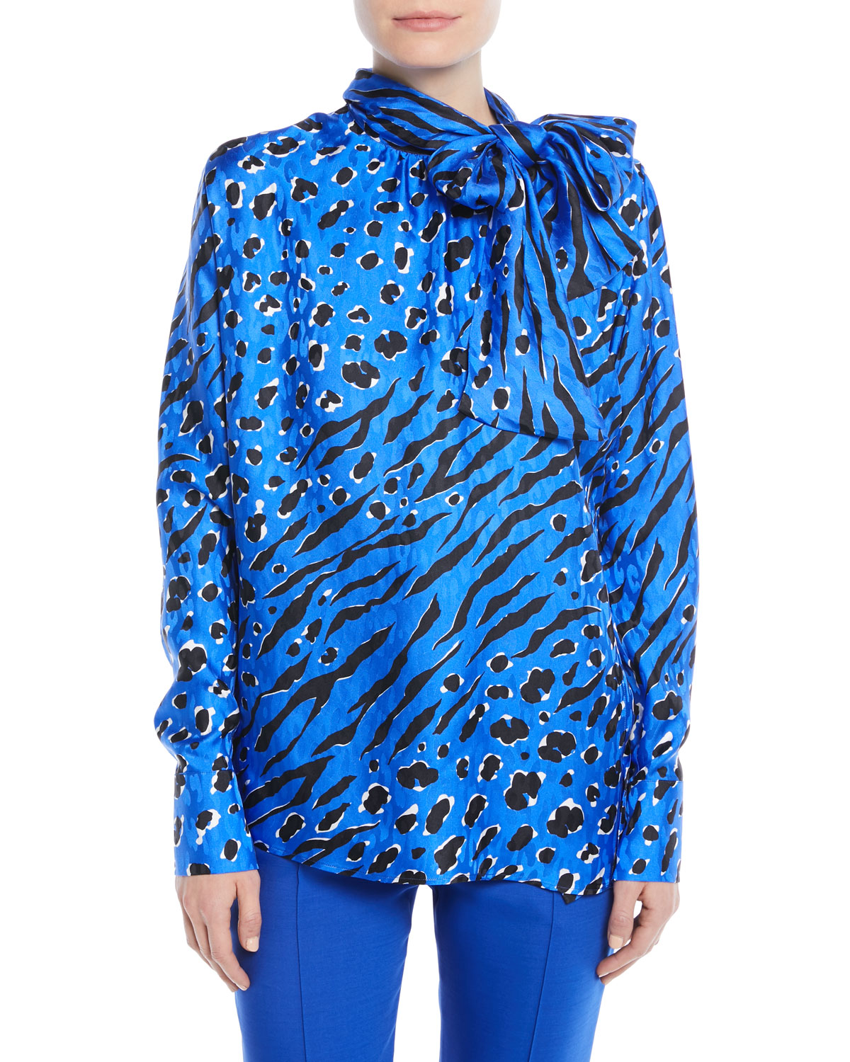Tie-Neck Long-Sleeve Animal-Print Jacquard Blouse