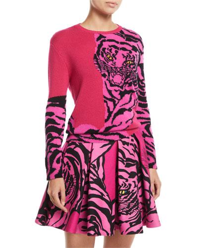 Tiger-Intarsia Crewneck Cashmere Sweater