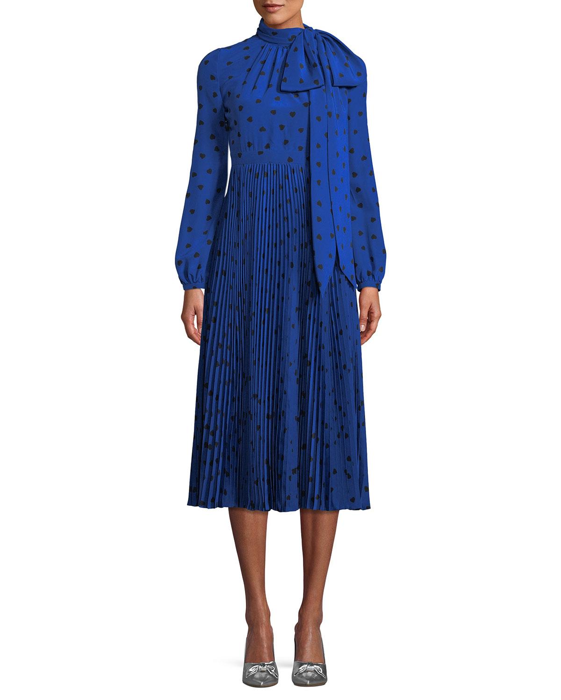 Long-Sleeve Heart-Print Dress w/ Bow