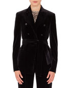Akris Silvana Double-Breasted Velvet Jacket w/ Self-Belt