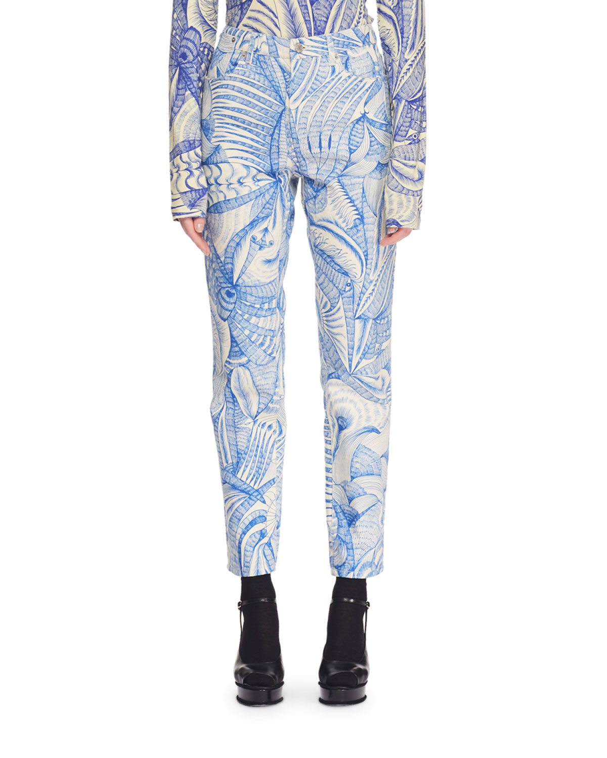 High-Rise Skinny-Leg Printed Ankle Pants