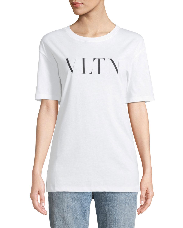 Short-Sleeve VLTN Logo Cotton Jersey T-Shirt
