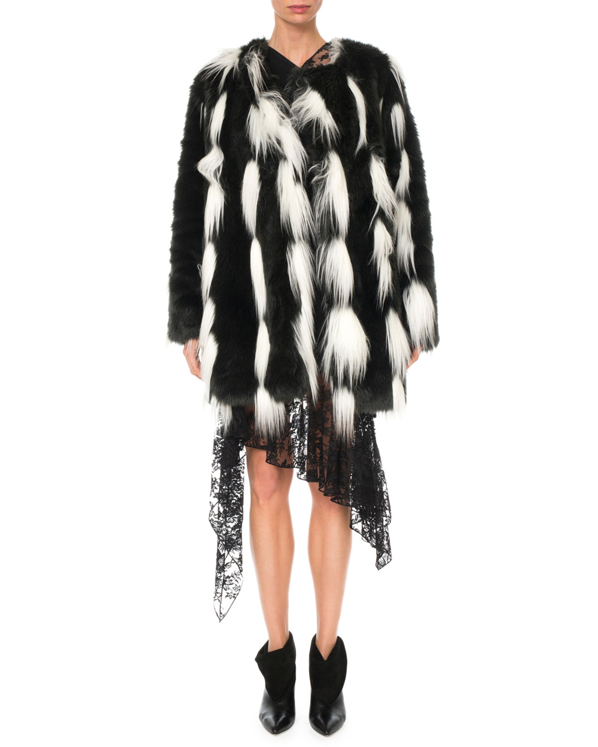 Monochrome Faux-Fur Coat