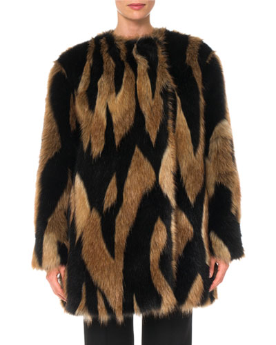 2c86744ca103f Quick Look. Givenchy · Intarsia Faux-Fur Quilted-Lining Mid-Thigh Coat