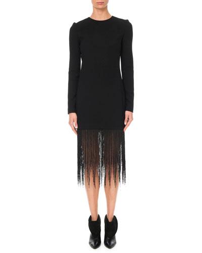 Long-Sleeve Crewneck Sheath Wool Crepe Cocktail Dress w/ Fringe Hem