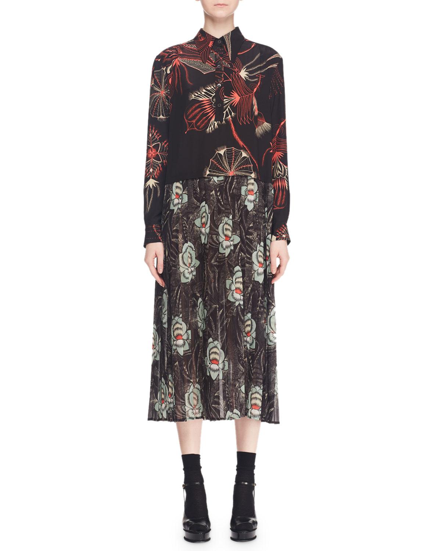 Decuman Long-Sleeve Collared Mixed Floral-Print Silk Midi Dress