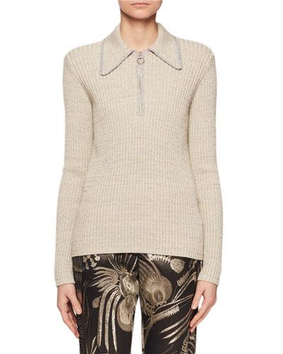 Long-Sleeve 1/4-Zip Metallic Collared Sweater