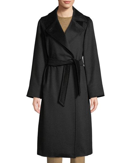Maxmara Manuel Belted Camel Hair Coat, Black