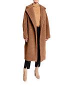 Maxmara Double-Breasted Camel Hair Blend Teddy Coat