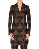 Akris Todd Button-Front Fruit of Vienna Metallic-Jacquard Coat