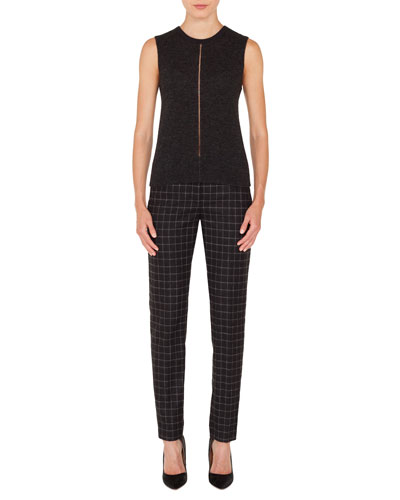Crewneck Sleeveless Cashmere-Silk Pullover Top