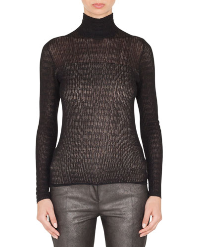 Mock-Neck Long-Sleeve Lace Knit Pullover Top