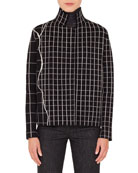 Akris Turtleneck Long-Sleeve Marble-Tile Print Pullover Top and