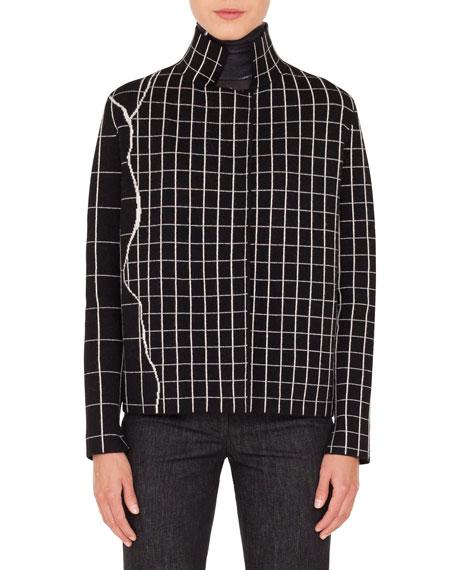 Akris Mock-Neck Marble-Tiles Intarsia Knit Cashmere Jacket