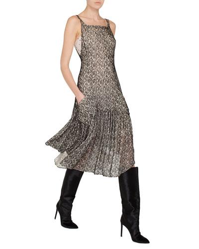 Sleeveless Velvet Burnout Godet Midi Cocktail Dress with Pockets