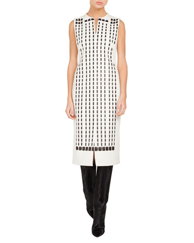 Sleeveless Front-Zip Hotel-Facade Embroidered Sheath Dress w/ Slits