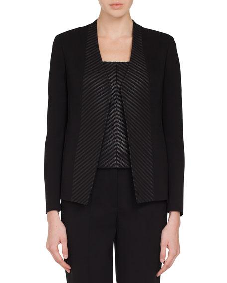 Akris Selma No-Closure Chevron Leather-Front Jacket
