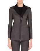 Akris Sean Zip-Front Stretch-Wool Tweed Jacket w/ Patch