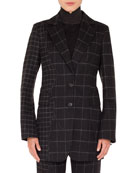 Akris Selia Two-Button Marble Tiles Patchwork Flannel Wool
