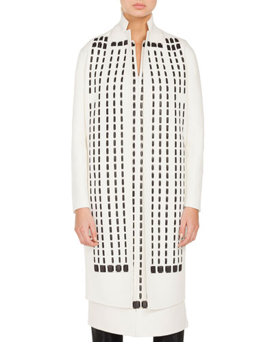 Tahara No-Closure Hotel Facade Embroidered Coat