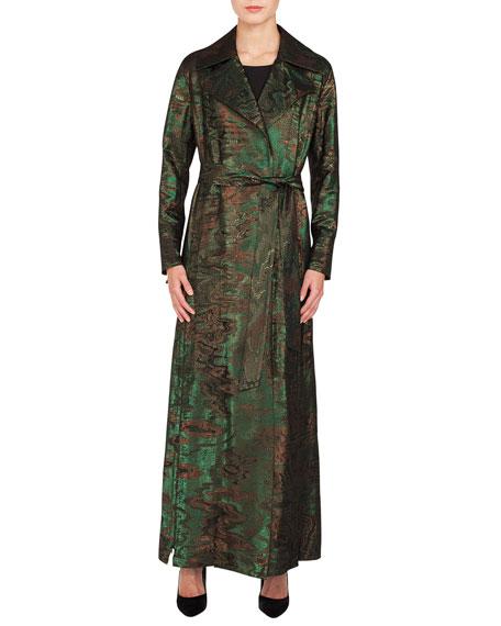 Akris Metallic-Jacquard Belted Trench-Style Coat