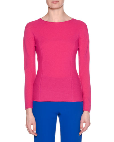 Crewneck Long-Sleeve Wool-Cashmere Ribbed Top