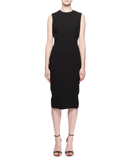 Victoria Beckham Sleeveless Crewneck Fitted Crepe Dress
