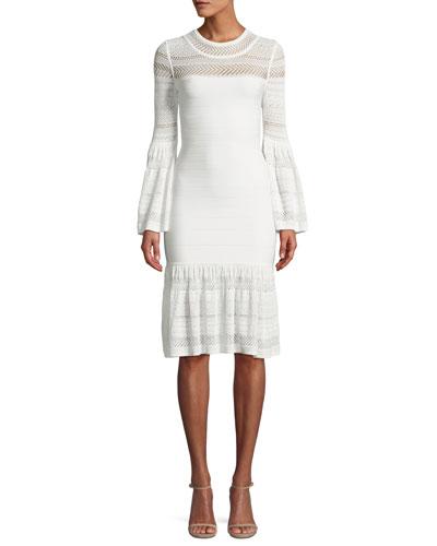 Bell-Sleeve Bandage Knit Dress