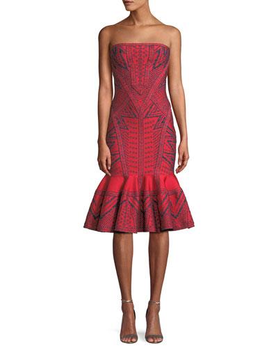 Strapless Geometric-Metallic Jacquard Cocktail Dress w/ Flounce Hem