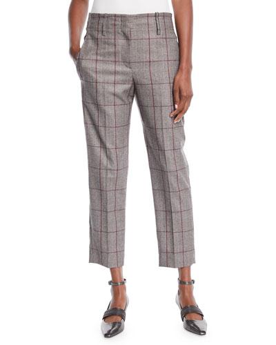 Plaid Windowpane Wool  Straight-Leg Ankle Pants