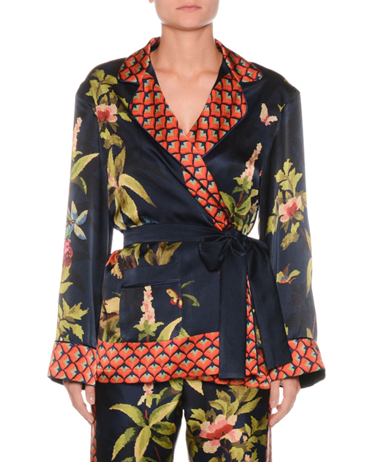 Jungle Foliage Needlepoint Silk Crepe Wrap Blouse Jacket w/ Border