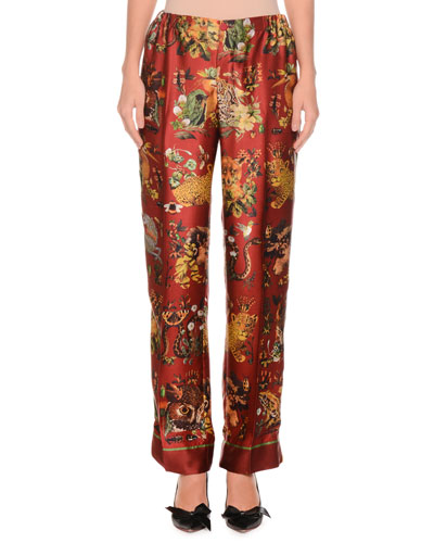 Animal-Print Needlepoint Silk Satin Pajama Pants