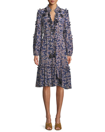 Figue Tie-Neck Long-Sleeve A-Line Floral-Print Knee-Length Dress