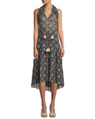 Figue Babriella Sleeveless Tassel-Tie Printed Georgette Dress