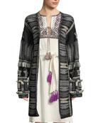 Figue Talaya Open-Front Intarsia Wool Cardigan w/ Fringe