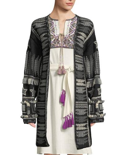 Talaya Open-Front Intarsia Wool Cardigan w/ Fringe & Tassel Trim