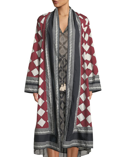 Kali Open-Front Diamond-Print Cotton Voile Kimono Coat