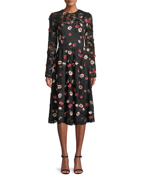 Lela Rose Long-Sleeve Fit-and-Flare Floral-Embroidered Lace Dress