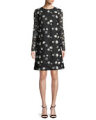 Lela Rose Jewel-Neck Long-Sleeve Floral-Embroidered Lace A-Line