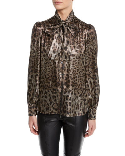 Quick Look. Dolce   Gabbana · Tie-Neck Long-Sleeve Metallic Leopard Blouse 5480069bf