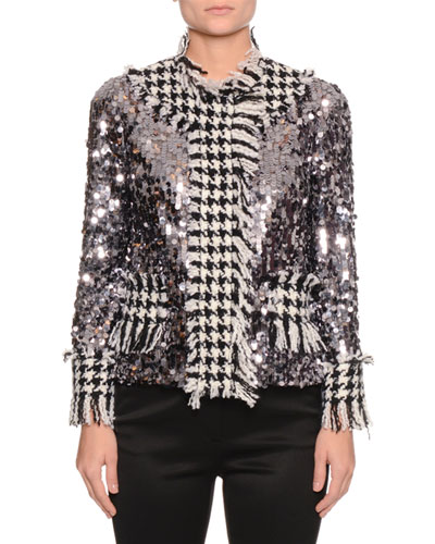 Long-Sleeve Paillette Houndstooth-Trim Jacket