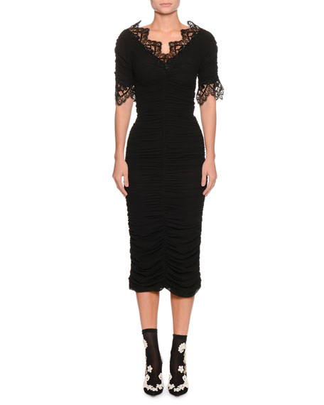 Dolce & Gabbana Short-Sleeve V-Neck Ruched Cocktail Dress w/ Lace Trim